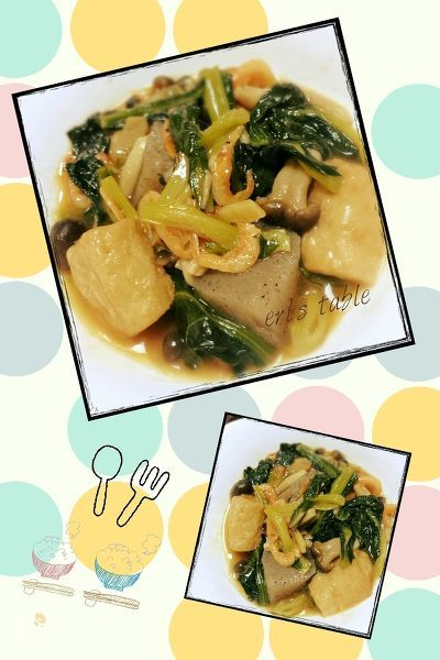 小松菜と厚揚げの煮物 桜えび餡掛け