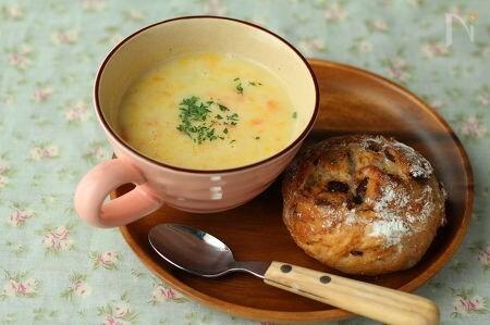 かぼちゃとにんじんのもぐもぐ豆乳スープ