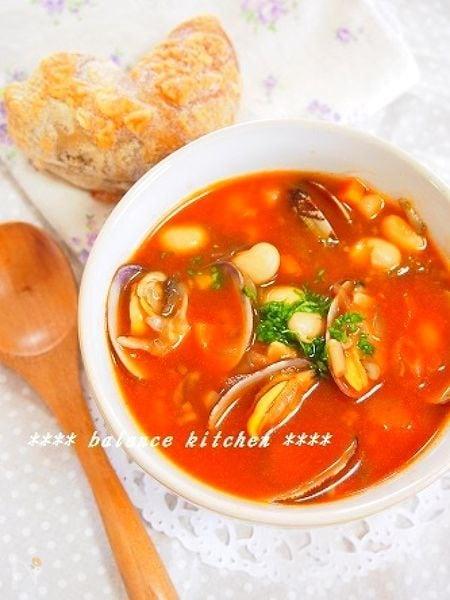 時短!食べるスープ アサリとキノコのミネストローネ風