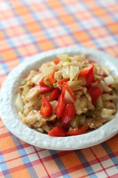 鶏肉とセロリの甘酢炒め