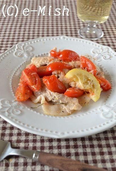 豚肉とトマトの塩レモン炒め