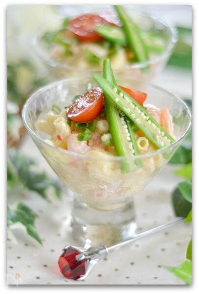 エビと枝豆のキヌア入りチリマヨマカロニサラダ