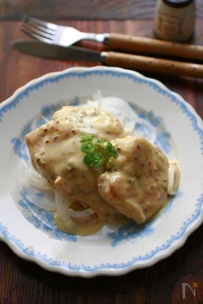 鶏肉のクリームマスタードソース