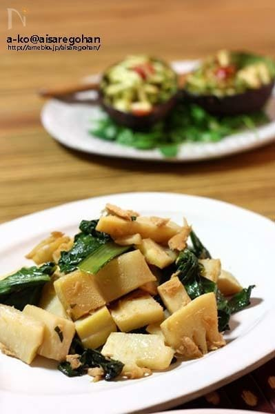シンプルだけど旨うま♪簡単!「タケノコと青菜の中華風炒め」