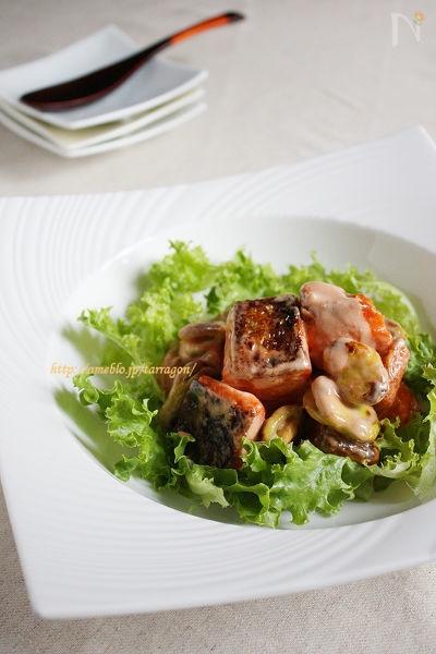 焼き空豆と鮭の爽やかエビマヨ風