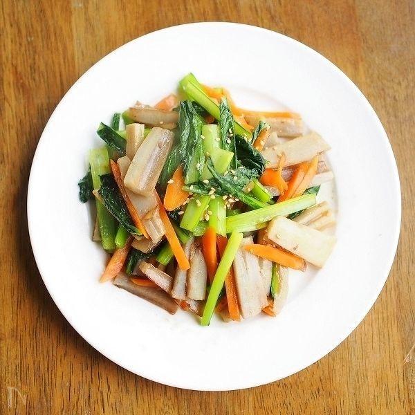 小松菜と根菜のキンピラ