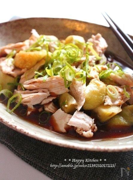 蒸し鶏と茄子の生姜甘酢だれ浸し