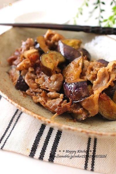 茄子と豚肉の生姜ポン酢醤油炒めおかか和え