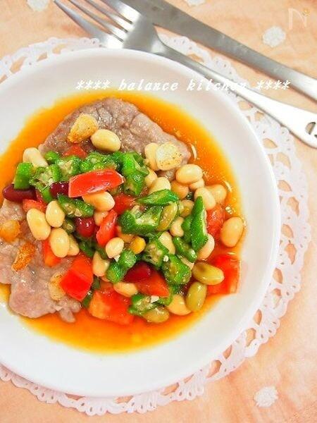 食べ方2通り! 豚肉の柔らかソテー豆たっぷりおくらソース
