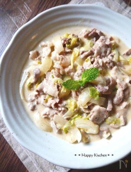 豚肉と白菜の粒マスタードクリーム煮