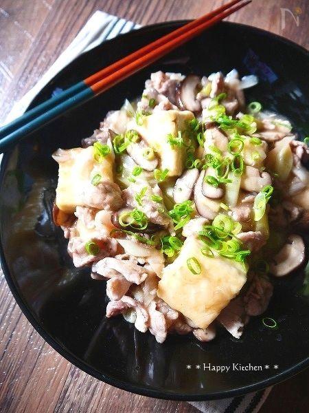 豆腐と豚肉のネギ塩あん和え