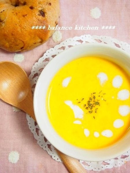 塩麹入り。かぼちゃと人参の豆乳ポタージュ