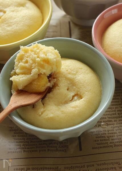マンゴーの缶詰で!ふんわり米粉蒸しパン