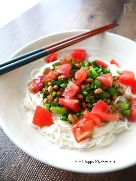 カラフルにらダレ納豆素麺