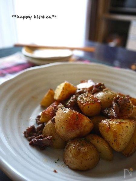 じゃが芋と牛細切れ肉のシンプル塩マヨ炒め