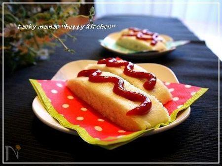 ルクエで♪魚肉ソーセージのアメリカンドッグ風蒸しパン