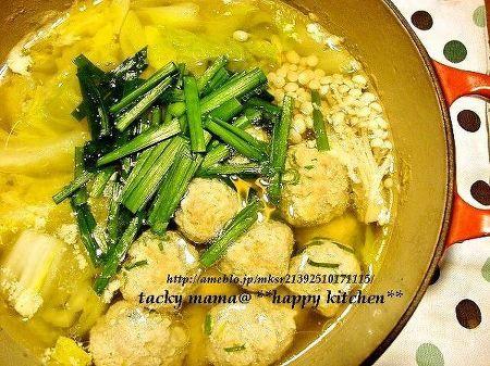 ぷりぷり肉団子入りニンニク風味鍋