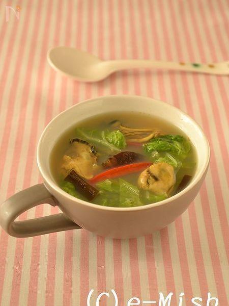 乾物おだしの白菜のカレースープ