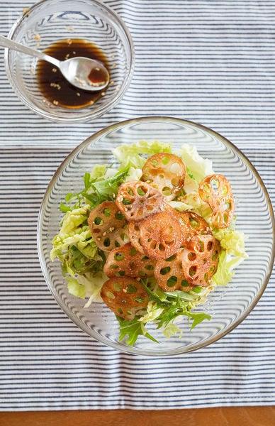 カリカリレンコンと白菜の中華サラダ