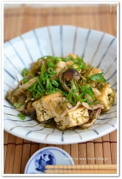 厚揚げ豆腐とがごめ昆布のとろみ煮