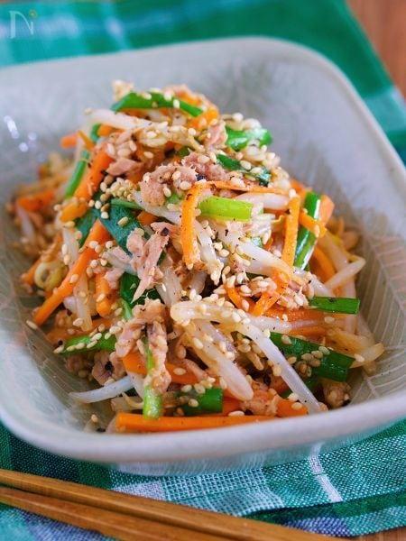 茹でません♪『シャキシャキ♡湯かけ野菜の3色ナムル』