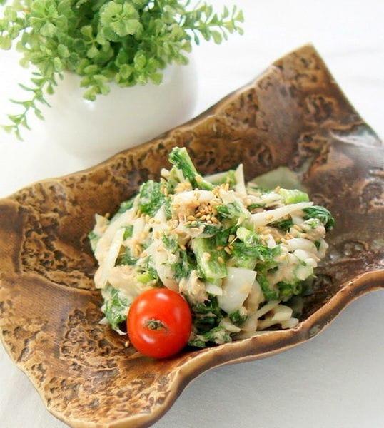 菜の花と新たまねぎのマヨぽんツナサラダ