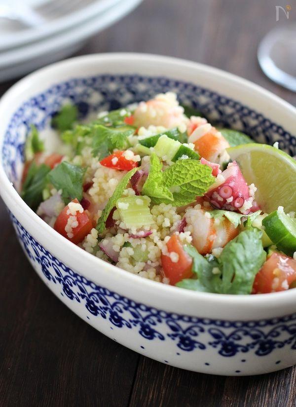 シーフードと夏野菜のタブレ