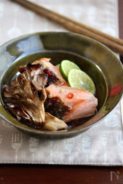 舞茸と鮭の焼き浸し。
