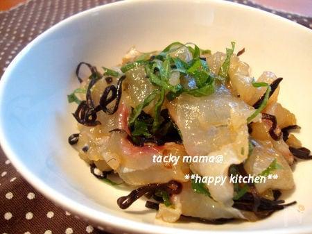 鯛のお刺身@昆布と大葉で美味しいおつまみ♪