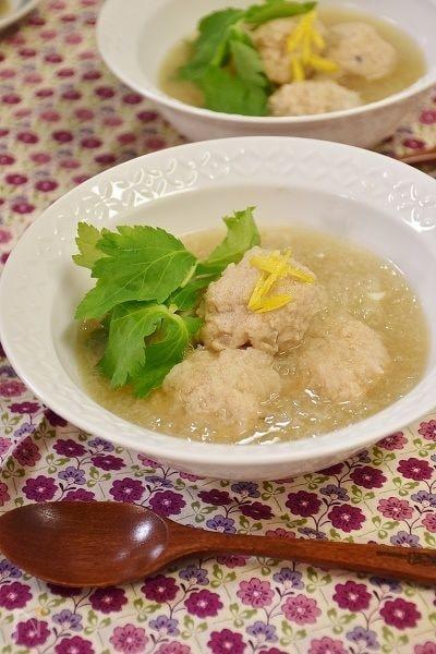 柚子香るれんこん入り鶏団子スープ