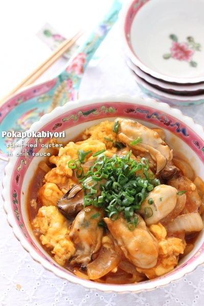 牡蠣のチリソース炒め