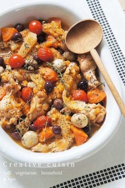 野菜と骨付き鶏のオレンジホロホロシビエ