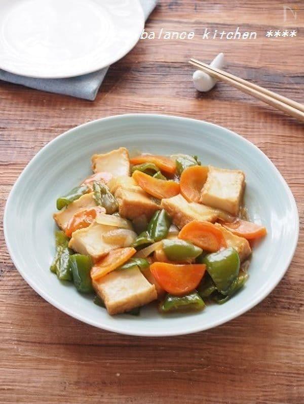 10分。ダマにならない。絹揚げと野菜の甘酢あん