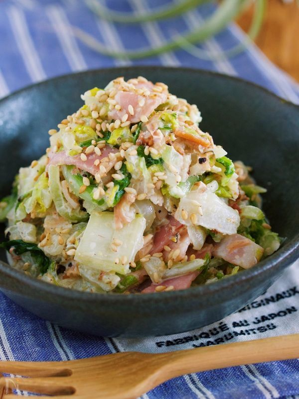 危険!『ごまマヨおかか de 白菜とベーコンの無限サラダ』