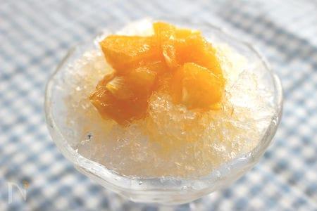 果肉たっぷりオレンジシロップでかき氷