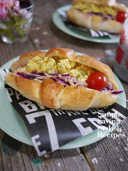 お洒落で簡単!カレー卵とキャベツマリネのカフェ風サンドイッチ