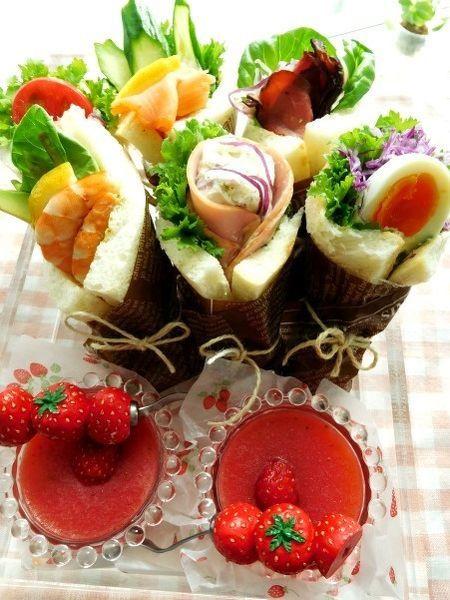 いろいろな種類の「サンドらず」でピクニック弁当