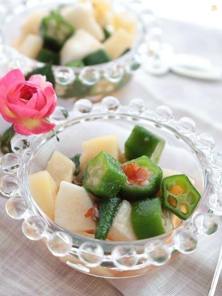 1.オクラ&長芋と筍のエスニックサラダ