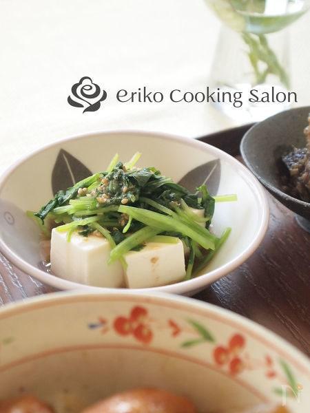 三つ葉と豆腐のごまぽんサラダ