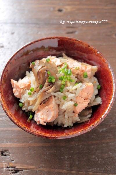 <秋ごはん>鮭とまいたけの炊き込みごはん