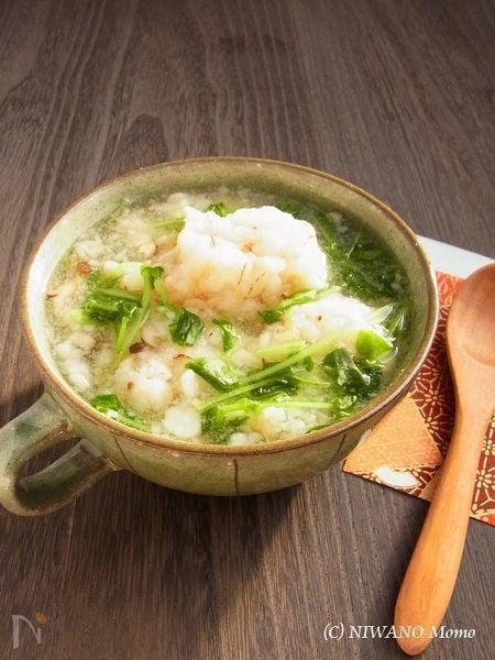 押し麦入り海老団子のとろみスープ