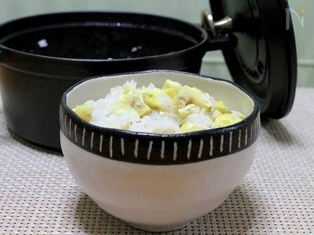 ストウブ鍋で「栗ご飯」