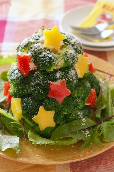 ポテトサラダのブロッコリーツリー