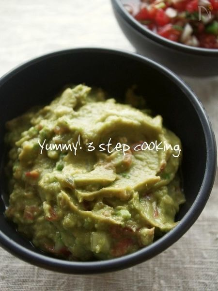 ★料理教室レシピ★サルサでお手軽さっぱり味のワカモーレ