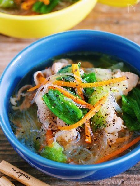栄養満点♡『豚バラレタスと春雨のコクうま♡塩スープ』