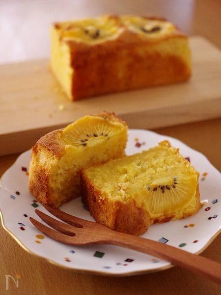 ゴールドキウイの簡単フルーツパウンドケーキ
