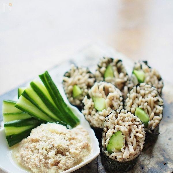 蕎麦寿司&豆腐入り挽肉とチーズのディップ