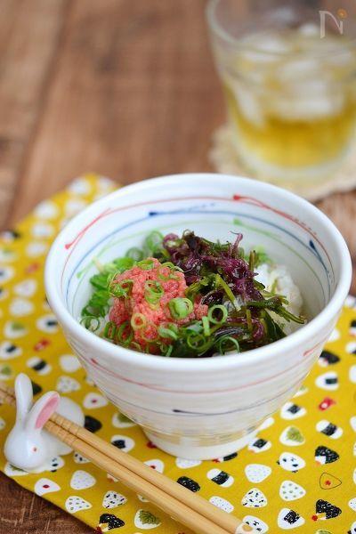 海藻と明太子の健康丼