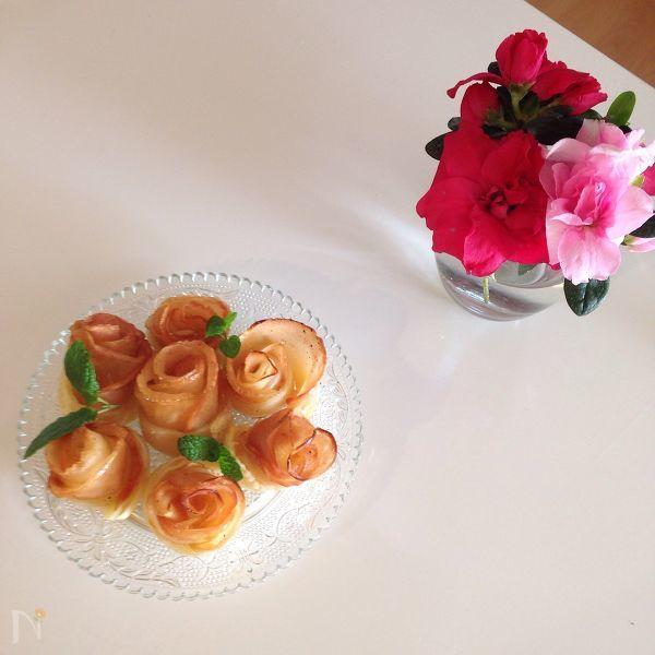 林檎と洋梨のお花パイ
