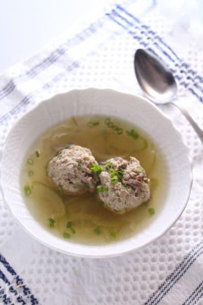 レバー入り肉団子のスープ